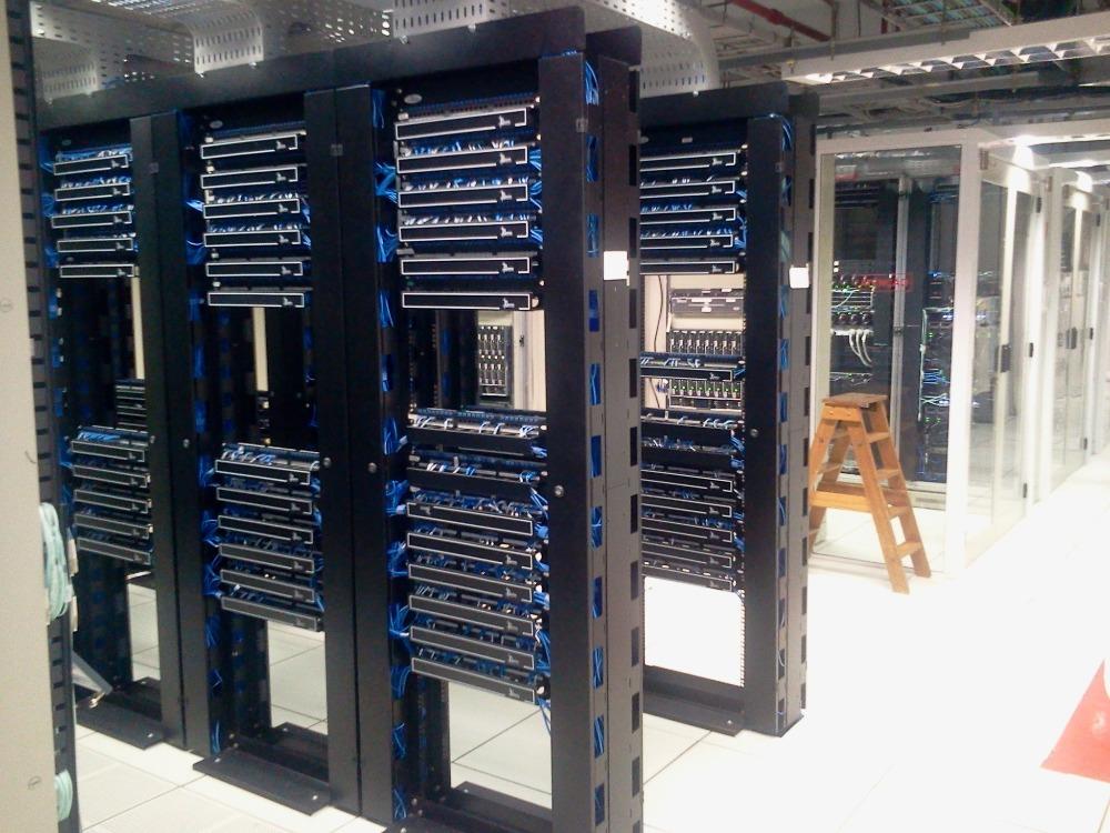 Rows of computer server racks